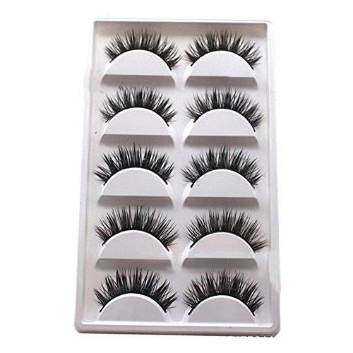 Blue Vesse 5 Paar Luxuriöse 3D Falsche Wimpern Kreuz Natürliche Lange Augen Wimpern Make-up