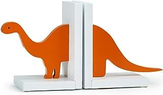 LiPengTaoShop bokavslutningar dekorativa bokstöd barns bokände skrivbord dekoration trä dinosaurie bokstöd 35*10*16cm Orange
