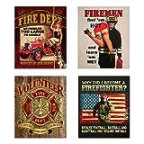 Fire Department Vintage Signs- 4 Image Set- 8...