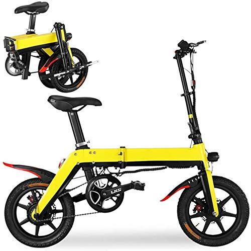 Bicicleta, Mini Bicicletas eléctricas para adultos 12 'E-bicicleta plegable 36V 5-10.4AH 250W 20km / h Bicicletas eléctricas de aleación de aluminio ligero ajustable E-bicicleta (Color: Blanco, Tamaño