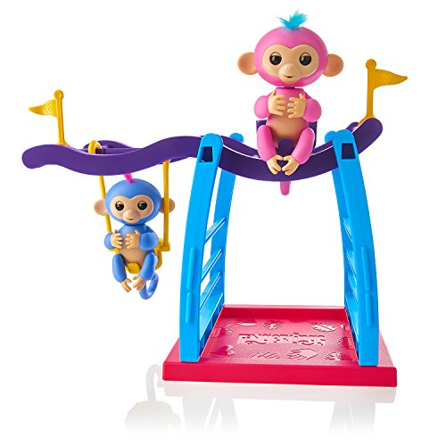 WowWee Playset Bar/Swing Playground with 2 Fingerlings Baby Monkey Toys, Liv (Blue) and Simona (Bubblegum Pink)