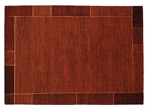 SOPRANO BORDER echter original handgeknüpfter Nepal Teppich in rot, Größe: 120x180 cm