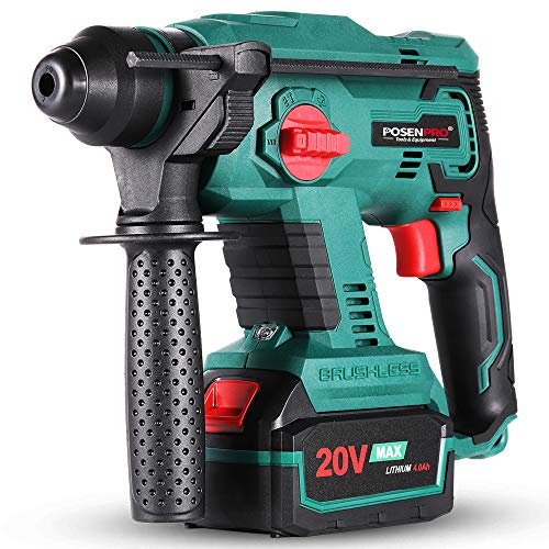 Brushless Cordless Rotary Hammer,POSENPRO 20V SDS Plus Rotary Hammer Drill,4 Modes Selector,Variable Speed,Adjustable Handle,4.0Ah Li-ion Battery and Fast Charger Included