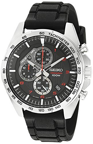 Seiko Men's Stainless Steel Japanese-Quartz Dress Watch with Silicone...