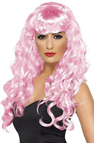 Smiffys, Sirene pruik met pony en krullen, één maat, roze, 42264