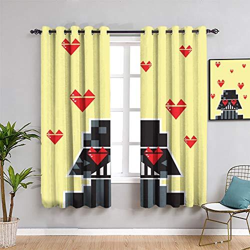 Love Star Wars Darth Vader - Cortinas opacas con ojales sólidos para ventana, 137 x 1178 cm