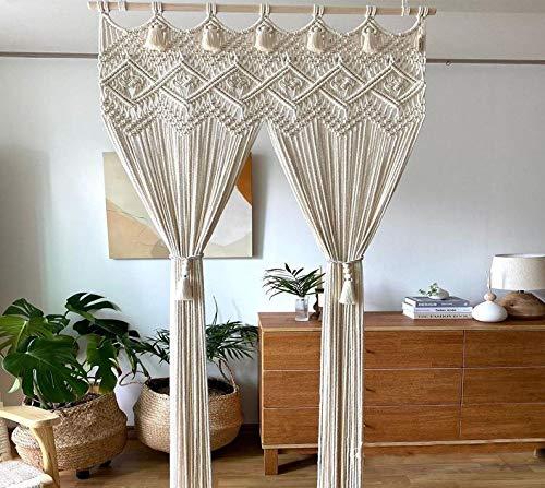 2021!! Macrame Curtain-Shower Curtain- Window Curtain Door Curtains-Macrame Wall Decor Hanging - Bohemian Home Geometric Art Decor -Macrame Wedding Backdrop (W 50 x Length 80)