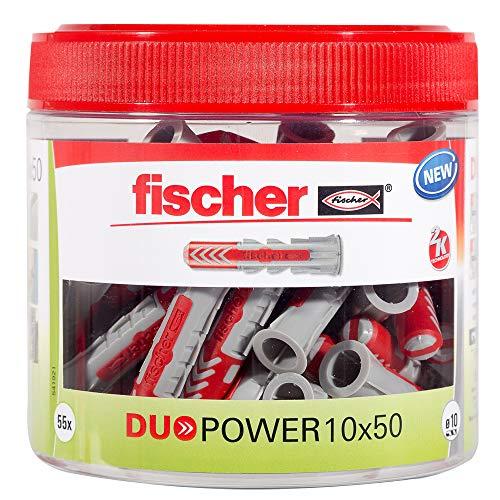 Unbekannt 541921 Fischer DUOPOWER universali a 2 componenti, tasselli in plastica per Il Fissaggio su Cemento, Mattoni, Pietra, cartongesso, ECC, 55 Pezzi, Grigio, 10x50