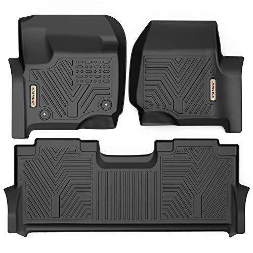 YITAMOTOR Floor Mats Compatible with F250/F350, Custom Fit Floor Liners for 2017-2021 Ford F-250/F-350 SuperCrew Cab, 1st & 2nd Row All Weather Protection