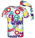 COSAVOROCK Disfraz de Hippie años 60s 70s Hombre Camiseta con Diadema (XL, Peace)