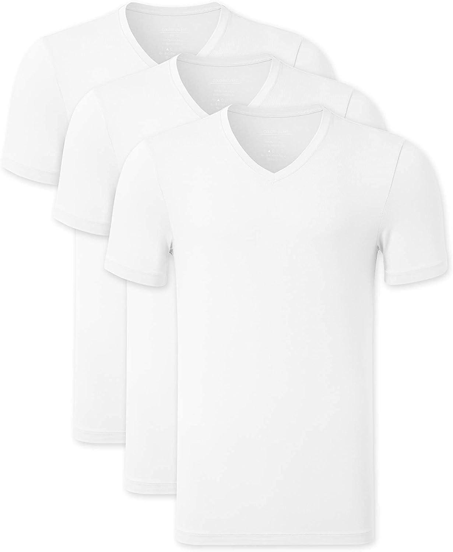 COLORFULLEAF Men's Bamboo Undershirts Regular Fit T-Shirts Short Sleeve V-Neck Tees 3-Pack Multipack