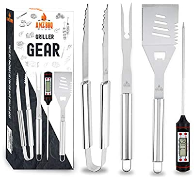 AMZ BBQ CLUB Barbecue Accessories & Grilling Tools 4 Piece Set Premium Quality Grill Utensils - Instant Read Digital Thermometer, Spatula, Fork & Tongs - for Home Kitchen, Campfire & Backyard Use