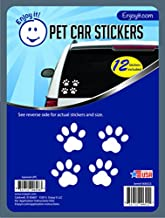 Enjoy It Pet Paw Car Stickers, 12 Pawprint Stickers, Outdoor Rated Vinyl Sticker Decals for Windows, Bumpers, Laptops or Crafts