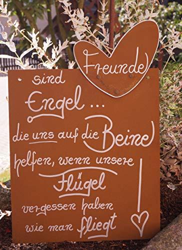 Dekostüberl Rostalgie Edelrost Tafel Freunde Gedichttafel Spruch Geschenk Schild Metall