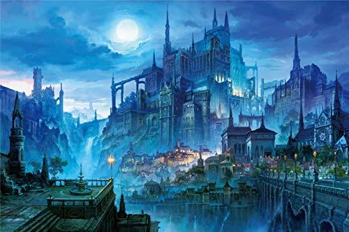 InGooooD  Tranquil Series  Castle in The Night  Basswood Jigsaw Puzzles 1000 Piezas para Adultos