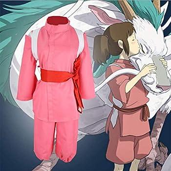 GGOODD Miyazaki Hayao Anime Spirited Away Ogino Chihiro Cosplay Costume Pink Kimono Halloween Party Suit 4 Piece Set,Pink,XL