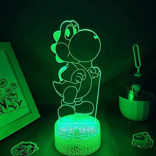 FUTYE 3D anime ilusión lámpara noche luz juego lindo figura pequeño dinosaurio Yoshi LED RGB luces de noche regalo de cumpleaños niños juegos colorido habitación decoración de mesa control táctil
