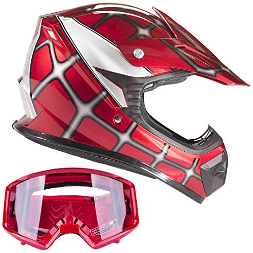 Typhoon Youth Off Road Helmet & Goggles DOT Motocross ATV Dirt Bike Motorcycle Red Spiderman, Large