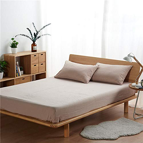 JRDTYS Ultra Soft Hypoallergenic Microfiber Quilt Cover SetsPure color printing simple washed cotton-Small grid-camel_180cm×220cm