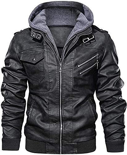 New York Leather Men's Leather Jacket Casual Motorcycle Jacket with Removable Hood (XL (Suitable Chest 44