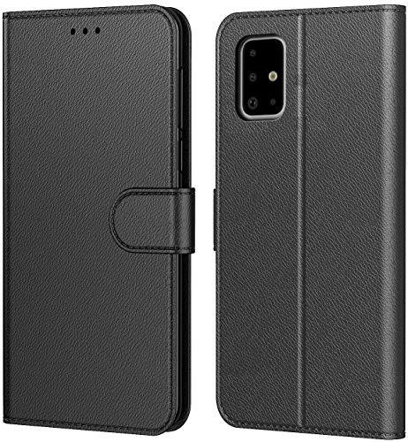 Tenphone - Funda para Samsung Galaxy A71, protección de piel sintética, con tarjetero, función atril, diseño magnético