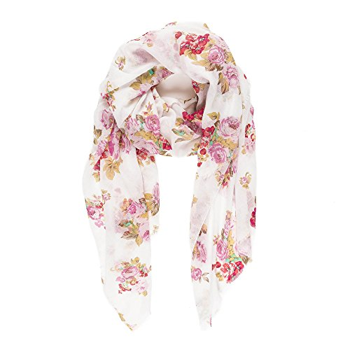Scarf for Women Lightweight Floral Flower for Spring Fall Scarves Shawl Wrap (NF37-3)