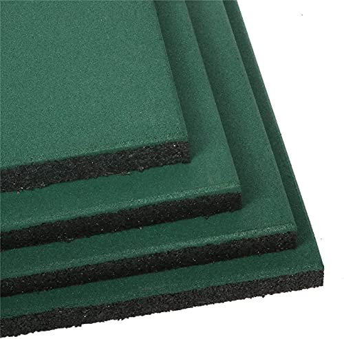 "4 PCS Interlocking Rubber Floor Tile 19.7""x19.7""x1.18"", 30 mm Thick Heavy Duty Fitness Equipment Rubber Tiles for Playground Floor, Outdoor Floor, Exercise Equipment Mats and Garage Floors -Green"