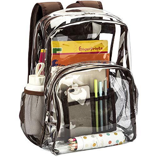 Vorspack Clear Backpack Heavy Duty PVC Transparent Backpack with Reinforced Strap Stitches & Large Capacity for College Workplace Security - Coffee
