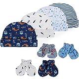 Lictin Bonnets de Naissance et Moufles de Protection - 100% Coton 4pcs Bonnets Coordonnés et 4...