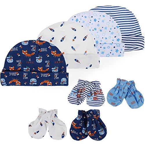 Lictin Bonnets de Naissance et Moufles de Protection - 4pcs Bonnets Coordonnés et 4 Paires Mitaines Scratch de Protection Anti-griffures Bébé Fille Garçon (0-6 Mois)