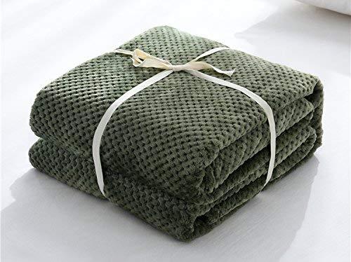 Willlly Pure Mesh Coral Fleece Blanket Chic Casual herfst en winter deken 150 cm x 200 cm Legergroen eenvoud klassieke mode 150*200Cm Armeegrün