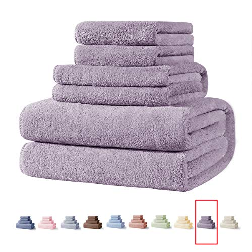 Xinrjojo Gift,Quick-Dry Microfiber Towels Gift Sets for Bathroom, 1 Bath Towel 1 Hand Towel and 2 Washcloths, Super Soft, Highly Absorbent, Fade Resistant, Pool Gym Towels Set-Lavender Purple