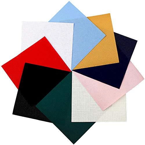 WILLBOND 20 Tessuti a Punto Croce da 14 ct Panno a Punto Croce Fai da Te Tessuto da Ricamo a Punto Croce da 5,9 x 5,9 Pollici per Lavoro Manuale di Artigianato Artistico Fai-da-Te, 10 Colori