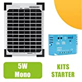 Monocristalin-Panel solar 5 w v, 12, regulador de 5 A