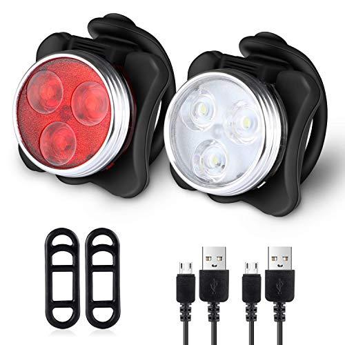 AcornSolution USB wiederaufladbare Fahrradleuchte Set Fahrradscheinwerfer wasserdichte LED Vorder- und Rückseite Rücklichter