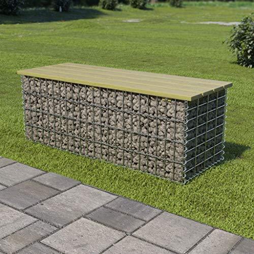 Festnight Gabionen Sitzbank 120 cm Gartenbank aus Gabionen Bogengabione mit Sitzfläche Parkbank Verzinkter Stahl und Hochwertiges Kiefernholz