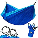 Legit Camping Double Hammock with Nylon Straps and Steel Carabiners - Light Blue/Blue