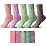 Womens Wool Socks 5 Pack Thick Knit Vintage Winter Warm Cozy Crew Socks Gifts Multicolor With Box (Multicolor-C)