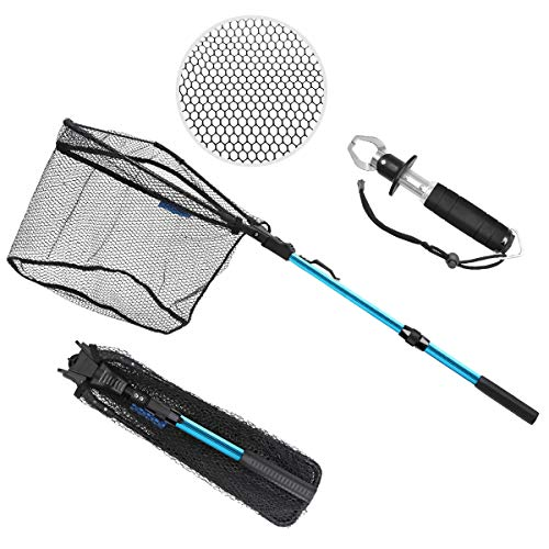 SAN LIKE Fishing Landing Net Long Handle Fishing Nets for Saltwater Telescoping Pole Extends to 37 Inches for Safe Fish Catching or Releasing,and Fish Lip Gripper with Scale Fishing Gear Set