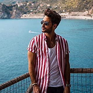 YSY-CY 2019 Men's Short Sleeve V-Neck Striped Button Up Shirt Summer Casual Blouse Tee Tops Suitable for outdoor travel/daily wear at work (Color : Red, Size : XXL)