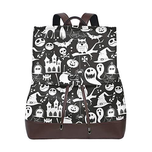 Ahomy Damen Leder-Rucksack Halloween Kürbis Fledermaus Eule Wasserdicht Anti-Diebstahl Mode Schulrucksack Casual Daypacks