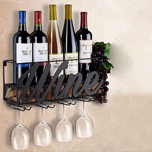 FGDFGDG Caja para Vino De Pared, Botella Y Botella De Vidrio, Decoración para El Hogar Y Cocina, Almacenamiento De Corcho, Bastidor De Almacenamiento De Botella Negro