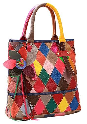 KELUINA Suave Piel de Cordero Multicolor Patchwork Bags Tote Bandolera Bandolera Mango Superior Bolso Monedero Borla Fringe para Mujer/señora