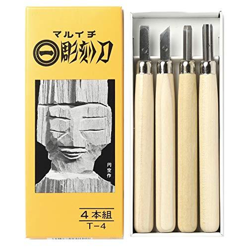 義春刃物 マルイチ彫刻刀 黄紙箱入 4本組 T-4