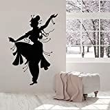 Calcomanías de pared de estilo indio, bailarina india, danza del vientre, habitación de niña, decoración de interiores, ventana, pegatina de vinilo, silueta, papel tapiz