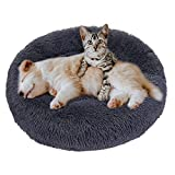 Eastlion Cama Perro Deluxe Felpa Redonda,Plush Cama Calmante Donut Gato Suave Cómoda,Nido Calentito Cojín Lavable para Mascotas Pequeña Gatos y Perros(Gris Oscuro-Diámetro:80 CM)