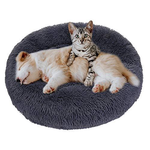 Eastlion Haustierbett Rund Plüsch,Hundebett Donut Kissen Warme Flauschig Weich,Schöne Katzenbett Waschbar Schlafen Bett für Welpen Katzen Hunde,Klein (Grau,S:50CM)