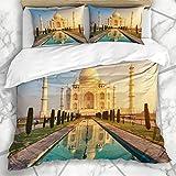 HARXISE Copripiumino Trapunta Agra Taj Mahal Mausoleo in Marmo Bianco Avorio Dia Famoso Design della Storia della Natura Palazzo della Città Design del Luogo Tre Pezzi in Microfibra 220 * 240CM