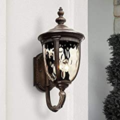 "21"" high x 9 1/2"" wide. Extends 12 3/4"" from wall. Weighs 6.2 lbs. Backplate is 8 1/2"" high x 5"" wide. Distance from mounting point to top of the fixture is 12 1/2"". Uses three maximum 40 watt candelabra base bulbs (incandescent, LED, or CFL). Bulbs ..."