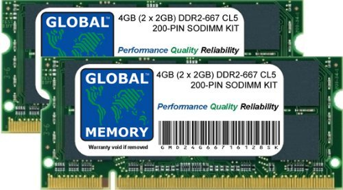 4GB (2 x 2GB) DDR2 667MHz PC2-5300 200-PIN SODIMM MEMORY RAM KIT FOR MACBOOK (LATE 2006 - MID/LATE 2007 - EARLY/LATE 2008 - EARLY 2009) & MACBOOK PRO (LATE 2006 - MID/LATE 2007 - EARLY 2008)